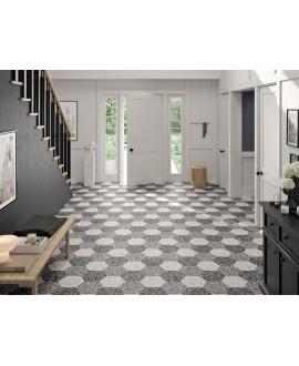 Carrelage hexagone tomette imitation granito noir mat 23x27cm, duresix terrazzo noir