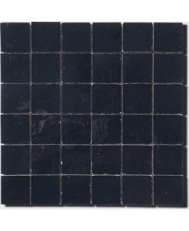 Mosaique crédence cuisine salle de bain zellige D 5x5cm noir sur trame 30x30cm