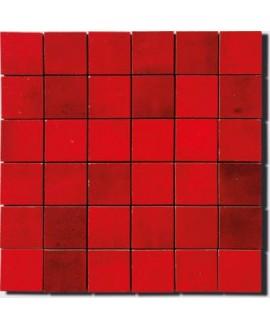Mosaique zellige salle de bain crédence cuisine D 5x5cm rouge sur trame 30x30cm