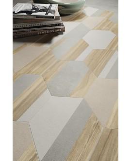 Carrelage effet bois et ciment décoré hexagonal, patchwork, sol et mur, 21x18,2cm apehexawork mix