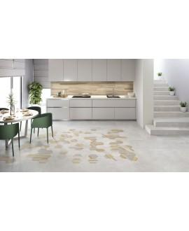 Carrelage salle de bain cuisine hexagonal en grès cérame émaillé imitation ciment 21x18,2cm apehexawork bianco