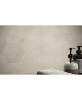 Carrelage hexagonal en grès cérame émaillé imitation ciment 21x18,2cm apehexawork taupe