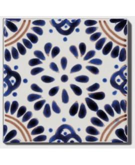 Carrelage peint à la main D arena 10x10x0.8cm décor mexicain