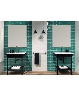 Carrelage salle de bain moderne mural santastripebrick émeraude 7.3x30cm