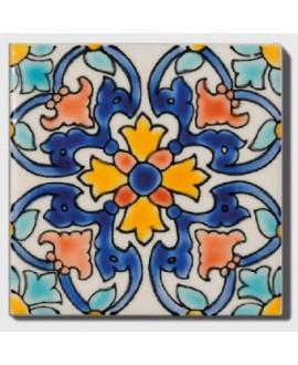 Carrelage peint à la main décor mexicain 10x10x0.8cm D anita 10x10x0.8cm