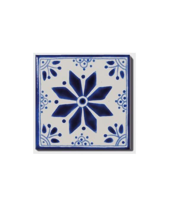 Carrelage peint à la main décor bleu mexique 10x10x0.8cm D aluma