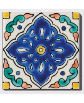 Carrelage peint à la main décor mexique D aloa 10x10x0.8cm