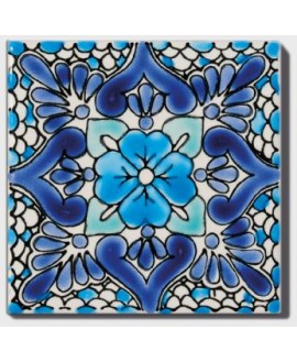 Carrelage décoré annalisa 10x10cm peint à la main