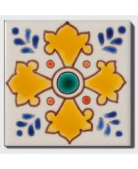 carrelage décor acacia 10x10cm peint à la main