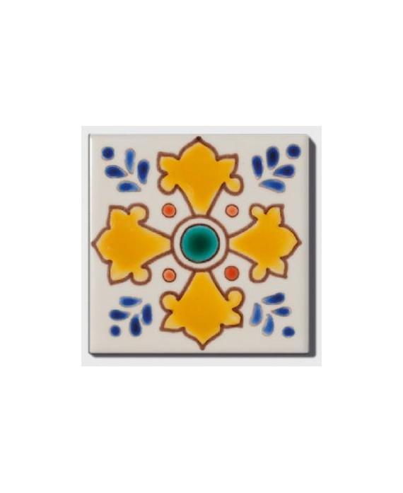 Carrelage décoré acacia 10x10cm peint à la main