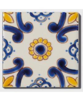 carrelage décor ataka 10x10cm peint à la main