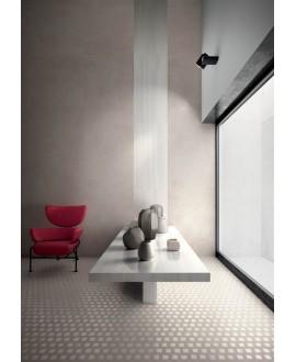 Carrelage imitation béton ou résine mat, XXL 120x120cm rectifié, santaset perle au mur