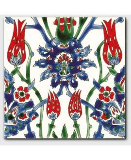 carrelage décor cyrine rouge 20x20cm peint à la main