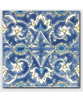 Carrelage décoré baghdad fond ivoire 20x20cm peint à la main