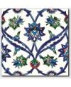Carrelage peint à la main oriental décor izmir bleu 20x20x0.8cm