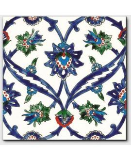 carrelage décor izmir bleu 20x20cm peint à la main
