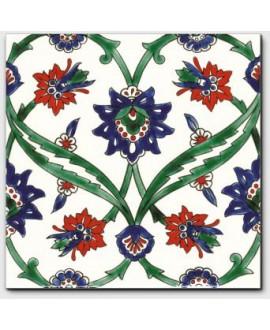 carrelage décor izmir vert 20x20cm peint à la main
