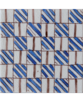 carrelage craquelé décor sabra bleu 10x10cm peint à la main