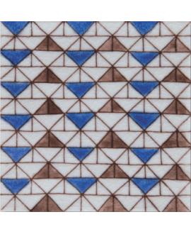 carrelage craquelé décor sbeitla bleu 10x10cm peint à la main