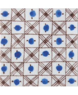 carrelage craquelé décor avignon bleu 10x10cm peint à la main