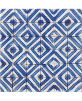carrelage craquelé décor lisbonne bleu 10x10cm peint à la main