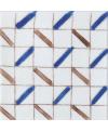 Carrelage peint à la main émail craquelé décor méditérranéen 10x10x1cm D fez bleu