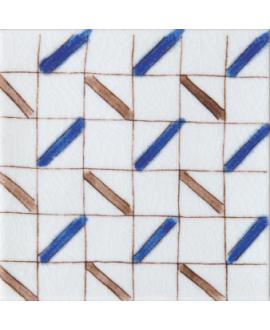 carrelage craquelé décor fez bleu 10x10cm peint à la main