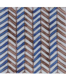 carrelage craquelé décor soufiana bleu 10x10cm peint à la main