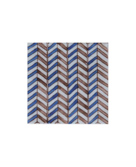 Carrelage peint à la main émail craquelé décor méditerranéen 10x10x1cm D soufiana bleu