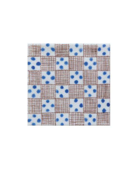 Carrelagepeint à la main émail craquelé décor méditerranéen 10x10x1cm D bullaregia bleu