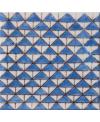 Carrelage émail craquelé peint à la main décor mediterranéen D dougga bleu 10x10x1cm