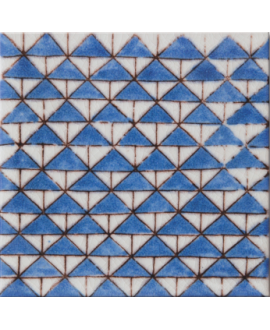 carrelage craquelé décor dougga bleu 10x10cm peint à la main