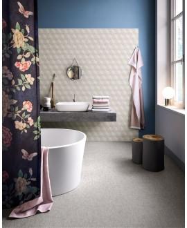 Carrelage salle de bain, imitation cannage, tissu, tapis, decor light, rectifié, santafineart au mur.
