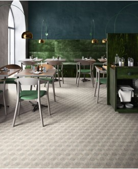 Carrelage restaurant, imitation tissu, tapis, decor dark, rectifié, santafineart.