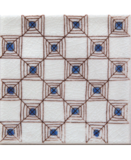carrelage craquelé décor bejaia bleu 10x10cm peint à la main