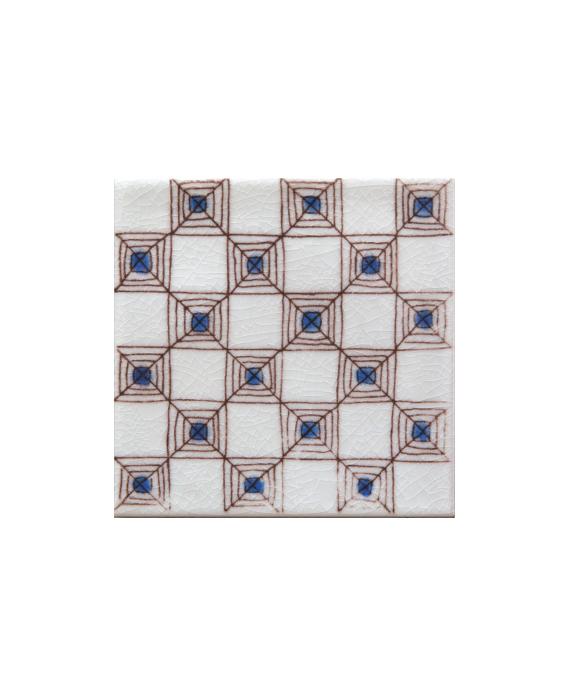 carrelage décoré à la main émail craquelé décor méditerranéen 10x10x1cm D bejaia bleu 10x10cm
