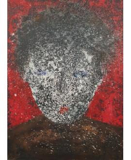 Peinture contemporaine, portrait, tableau moderne figuratif, acrylique sur toile 100x73cm intitulée: tête noire.