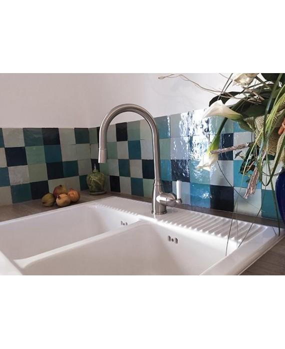 Zellige crédence cuisine salle de bain carrelage en terre cuite D saintecroix 10x10x1.1cm