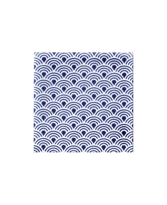 Carrelage peint à la main 10x10x1cm décor japon D ayumi bleu