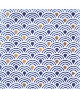 carrelage japon ayumi bleu et or 10x10cm peint à la main
