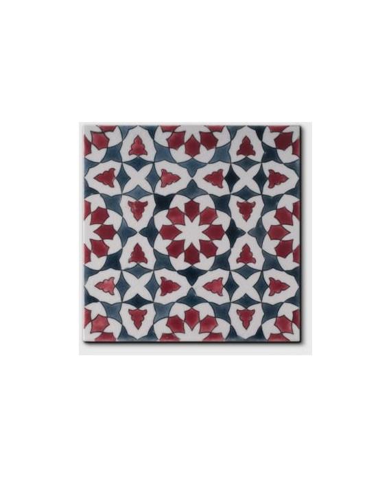 Carrelage peint à la main email craquelé décor oriental rouge 20x20x1.1cm D chloé automne
