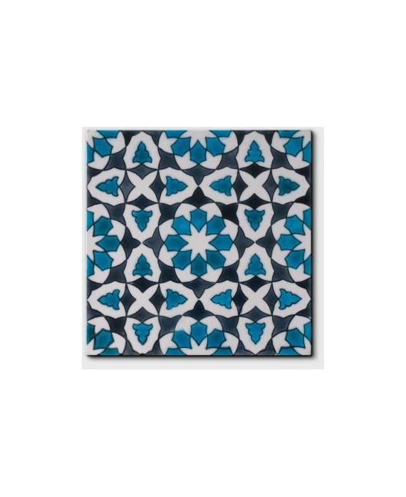 Carrelage peint à la main émail craquelé décor oriental bleu 20x20cm D chloé summer