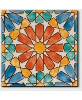 Carrelage décoré craquelé marbella rouille 20x20cm peint à la main