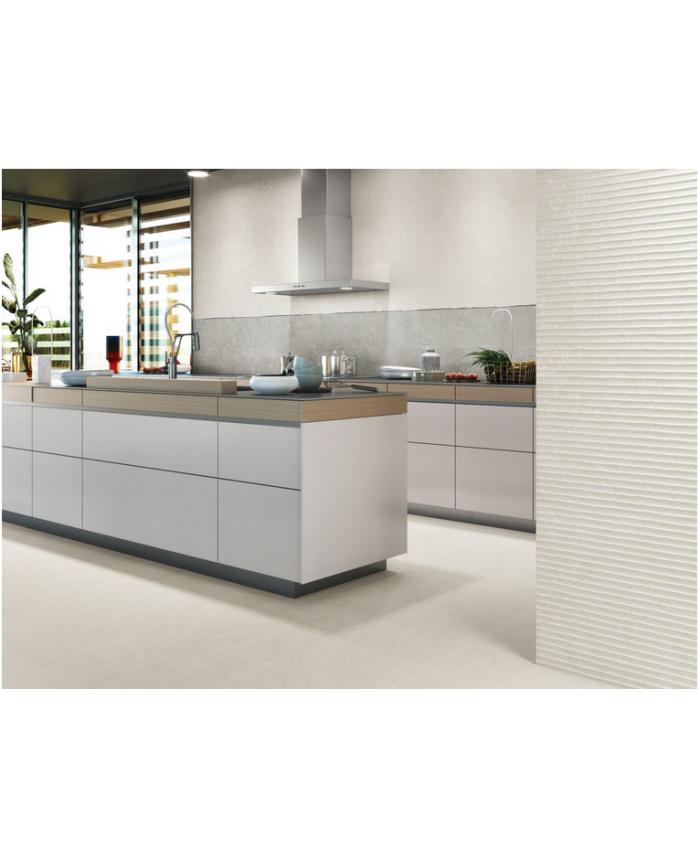 Carrelage décor en relief blanc mat, faience striée 30x90cm rectifiée, cuisine Porce9530 white