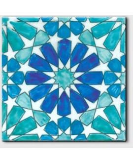 Carrelage décoré craquelé marbella bleu 20x20cm peint à la main