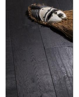 Parquet noir pur chêne brossé massif épaisseur 21mm premier choix sans noeud largeur 90, 110, 140mm PE410B CDE