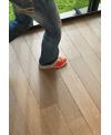 Plancher chêne massif ancien parquet vieilli finition gris pastel, grande largeur 190 mm forte épaisseur 21mm