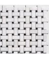 mosaique marbre salle de bain art-déco blanc et noir sur trame 30x30