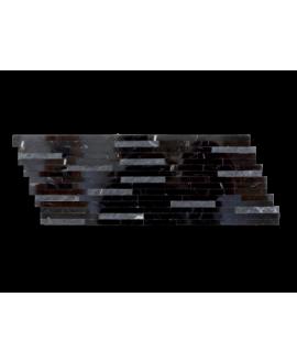 mosaique salle de bain marbre barettes noires 15x40 cm