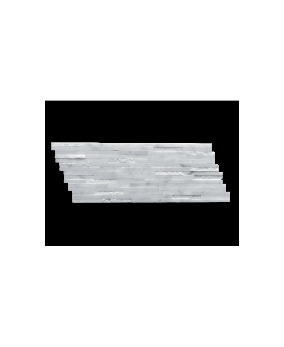 mosaique salle de bain marbre barettes blanches 15x40 cm